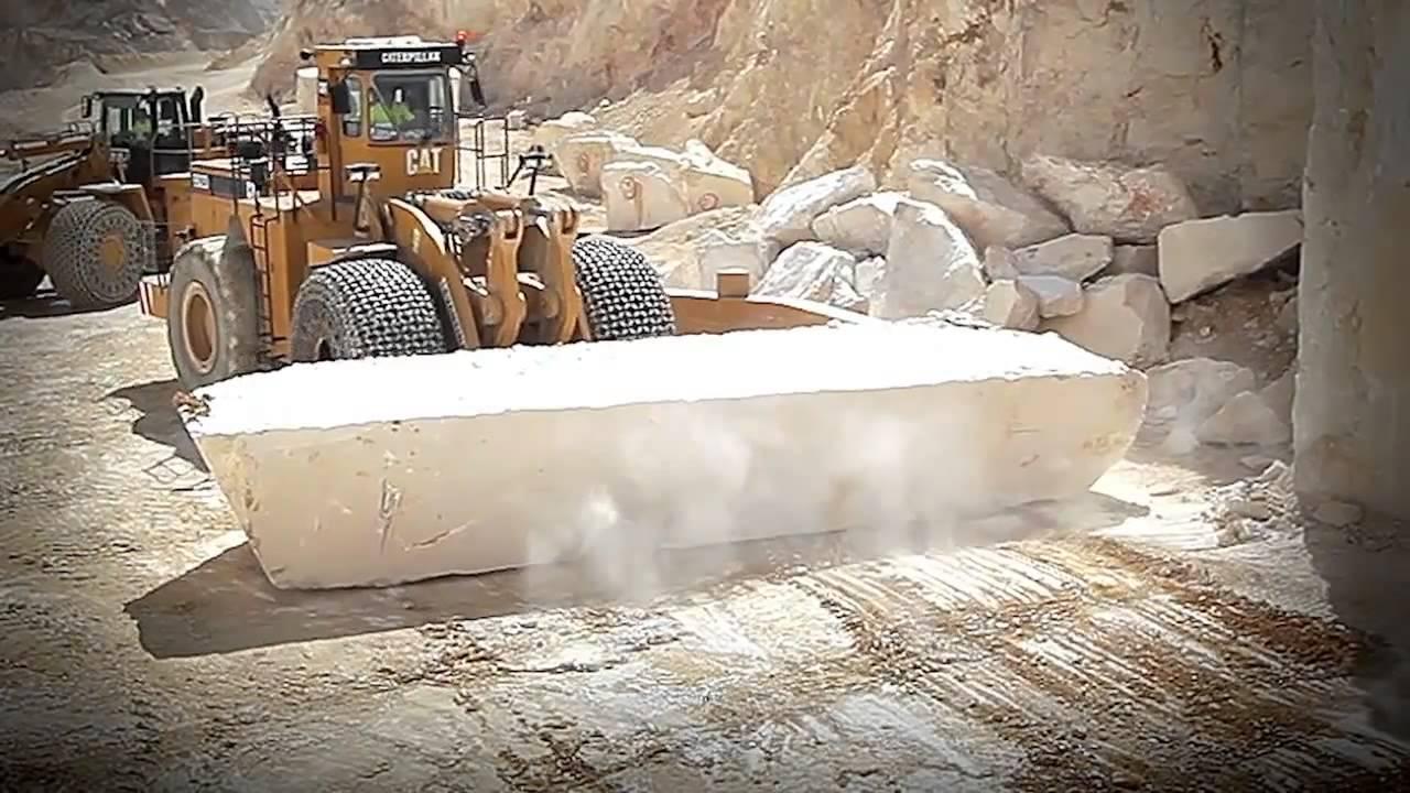 Добыча мрамора на карьере в Испании (Crema Marfil)