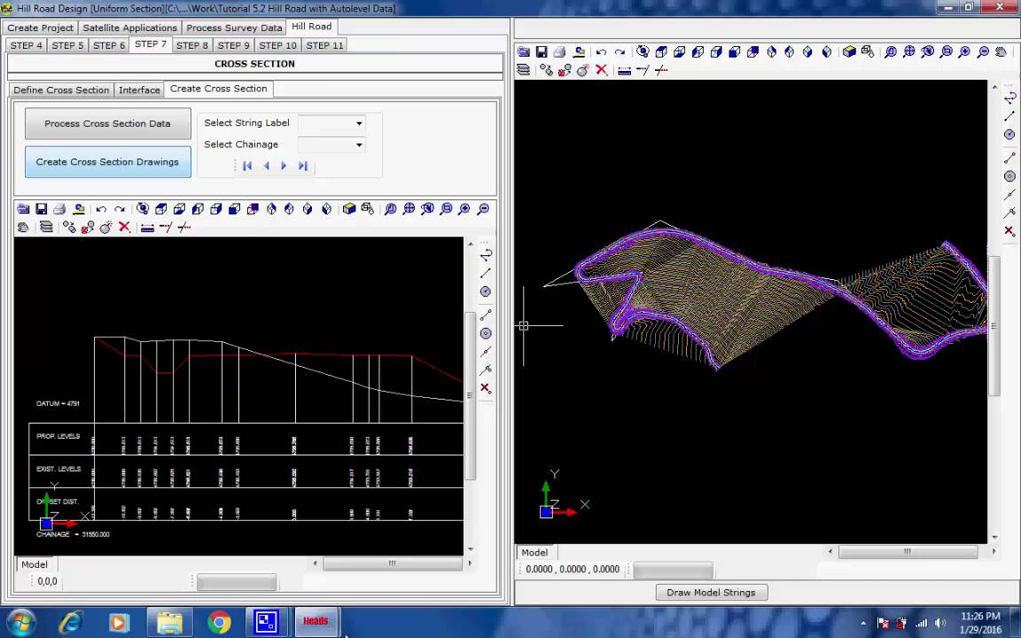 Tutorial Video For Hill Road Design With Auto Level Data By Road Highway Design Software Heads Pro Youtube