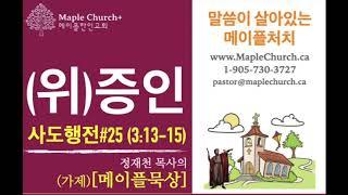 메이플묵상#25 (위)증인 (사도행전 3:13-15) | 정재천 담임목사 | 말씀이 살아있는 Maple Church