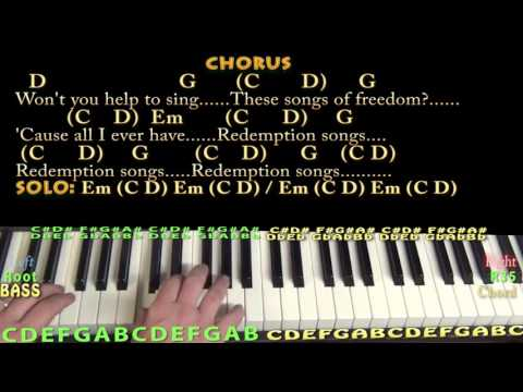 Redemption Song (Bob Marley) Piano Cover Lesson with Chords/Lyrics - Arpeggios