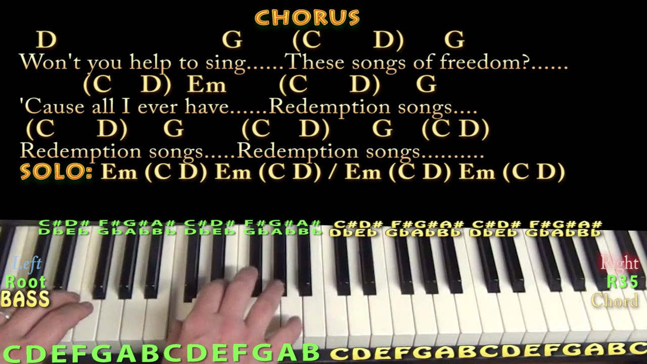 Redemption song bob marley piano cover lesson with chordslyrics redemption song bob marley piano cover lesson with chordslyrics arpeggios youtube hexwebz Image collections