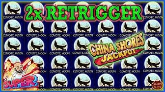 IMPRESSIVE RETRIGGERS ON COYOTE MOON - JACKPOT HANDPAY ON CHINA SHORES