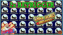 IMPRESSIVE RETRIGGERS ON COYOTE MOON - JACKPOT HANDPAY ON CHINA SHORES