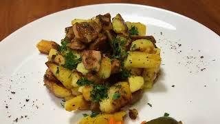 Рецепт жареной картошки с белыми грибами