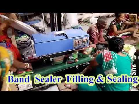1gm to 10kg Band sealing machine , Flour level conveyor sealing machine