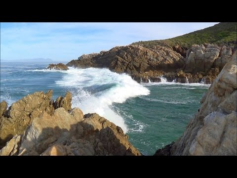 1 hour relaxation video - ocean waves rolling into rocky cove - HD 1080P