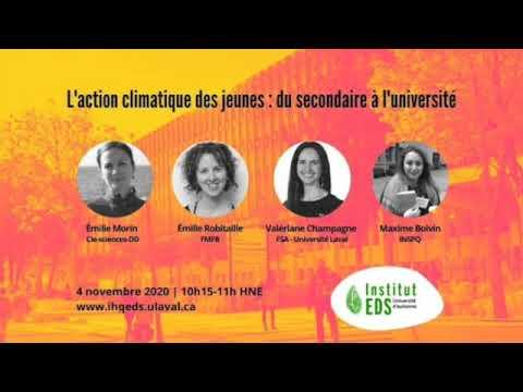L'action climatique des jeunes : du secondaire à l'université | Université d'automne 2020