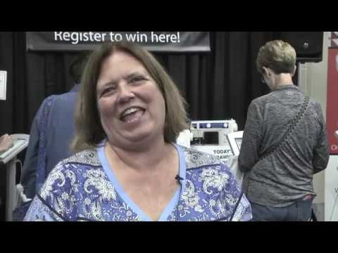 Laurie Lewis Wins Elna Sewing Machine at AQS QuiltWeek