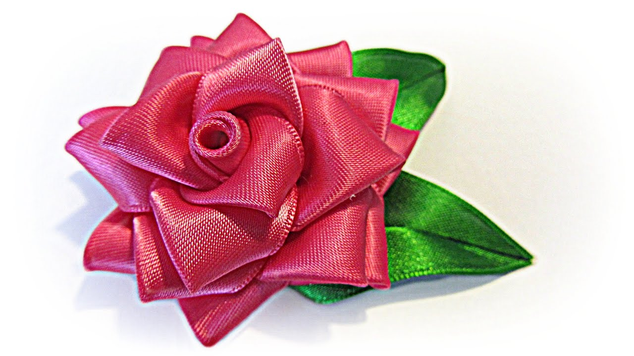 como hacer una rosa de cinta ribbon rose youtube