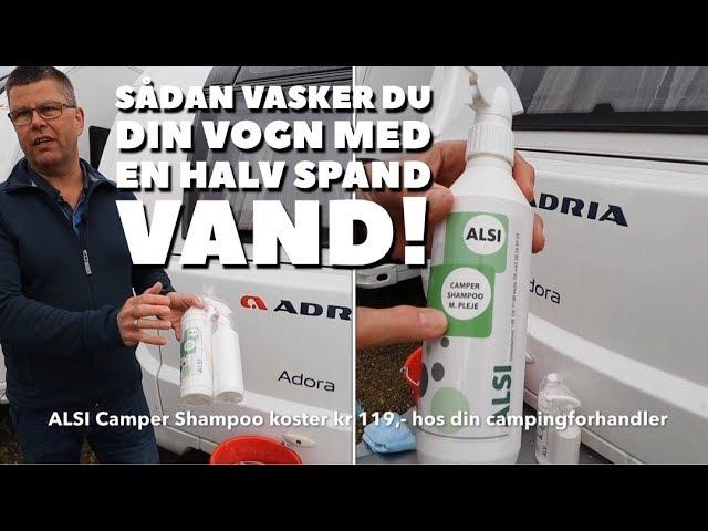 Sådan vasker du din campingvogn med en halv spand vand!
