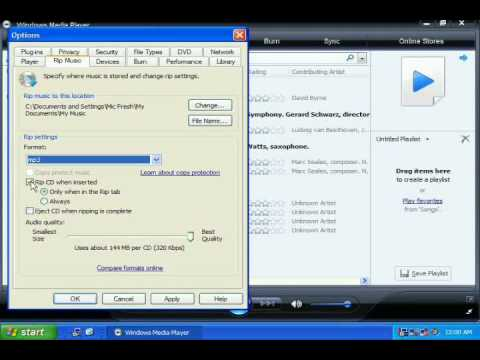 Ripping CDs to MP3 files using Windows Media Player 11
