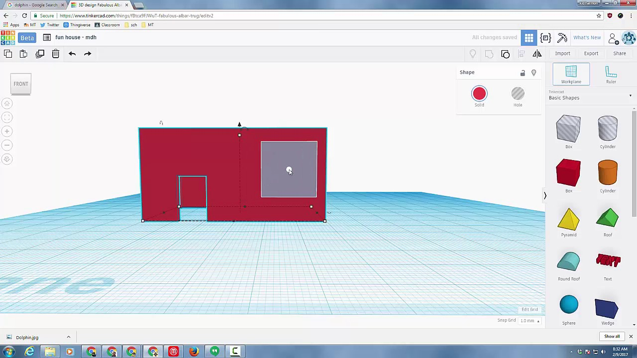 Create a fun house in tinkercad