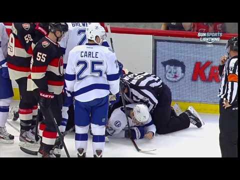 Chris Neil vs Richard Panik scrum end of 1st Mar 23 2013 Tampa Bay Lightning vs Ottawa Senators NHL