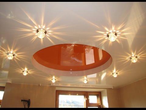 Светильники в натяжной потолок — варианты дизайна