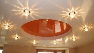 видео Светильники для натяжного потолка в ванной комнате: как выбрать и установить (фото)