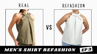 Men's Shirt Refashion | Halter Neck Top Dupe
