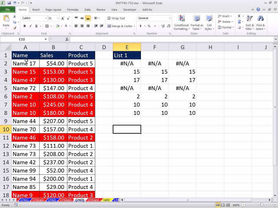 Excel Magic Trick 743 Conditional Formatting To Match Items In List