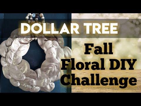 Fall Wreath   Dollar Tree DIY Challenge   Farmhouse Chic   Gold Leaf Beaded Decor