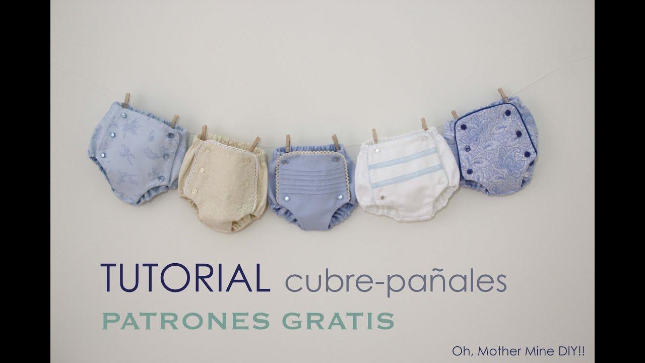 Tutorial cubrepañal o braguita bebe (patrones gratis) - YouTube