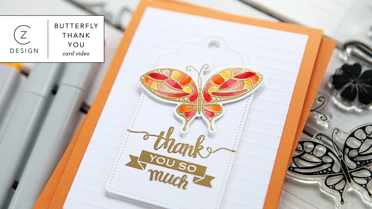 Thank You Card Featuring Gina K Designs Stamps Dies Youtube