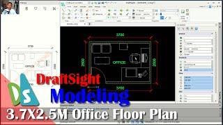 3 7x2 5M Office Floor Plan With Draftsight