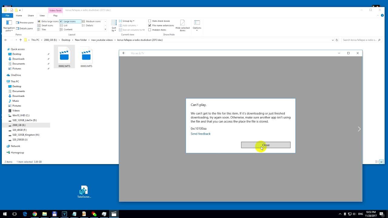 Movies & TV, Can't play, 0xc10100aa error, Windows 10 (Take Ownership)