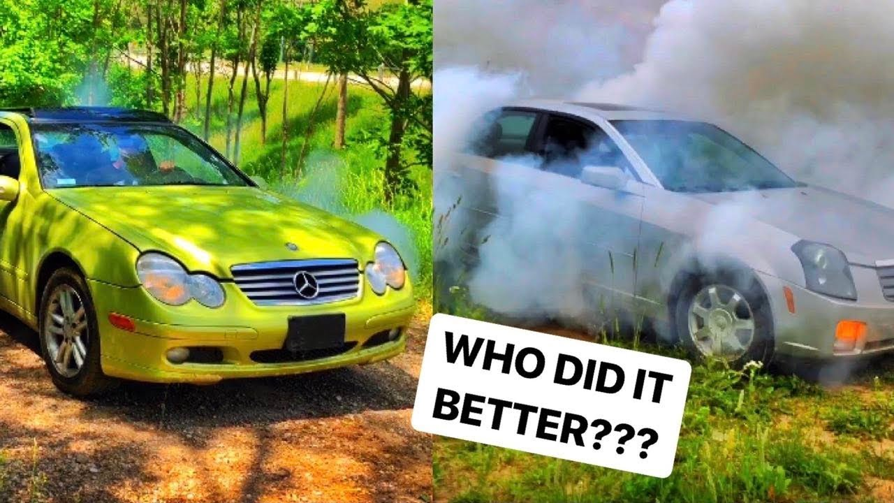 SUPERCHARGED Mercedes Vs Cadillac BURNOUT!!!