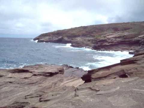 Waves crashing on the rocks on Kalaniana'ole Highway