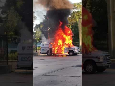 Trenton EMS ambulance burns behind Trenton Fire Headquarters