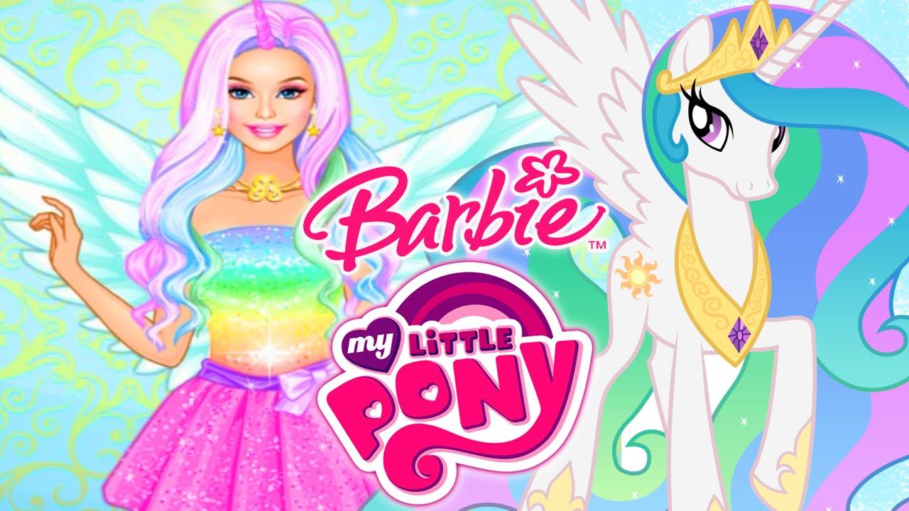 BARBIE My Little Pony Princess Celestia Glittery Costumes Dress Up Game