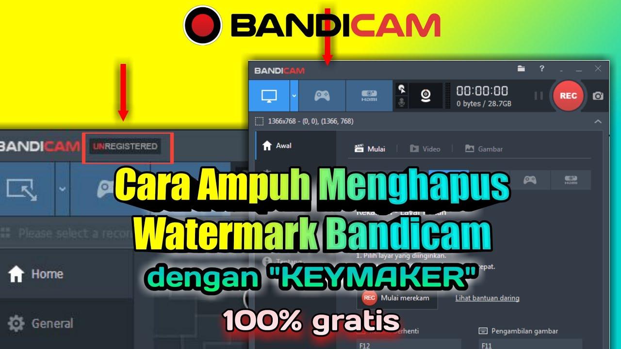 Cara mudah menghapus watermark bandicam dengan keymaker - YouTube