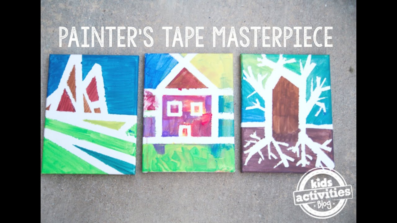 Masterpieces With Painters Tape Easy Painting For Preschoolers - Tape painting