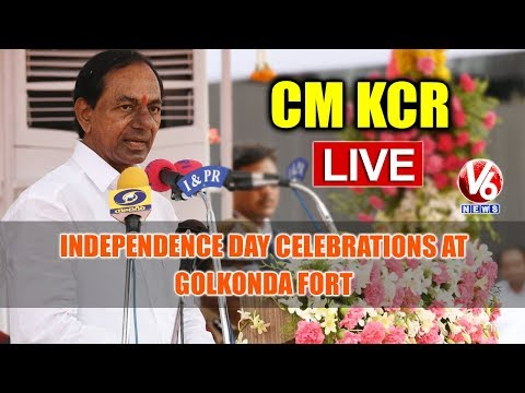 CM KCR LIVE: Independence Day Celebrations At Golkonda Fort | V6 News