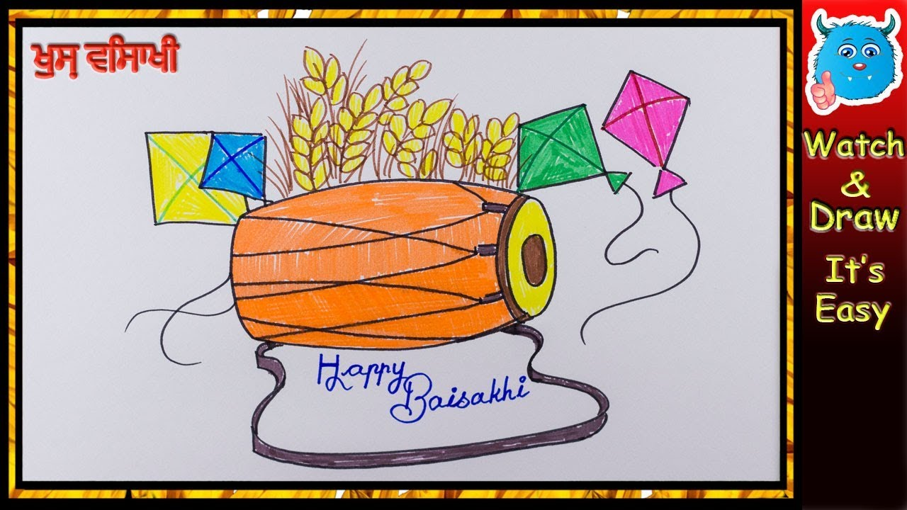 How To Draw Baisakhi Greeting Card Easy Baisakhi Festival Drawing