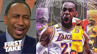 FIRST TAKE | Stephen A. EXCITED Lakers top Heat 102-96 take 3-1 series, LeBron' 28-Pt, win 4th title