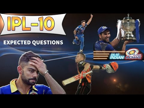 IPL 10 - Indian Premier League - Expected Questions - Current affairs 2017  - SSC CGL/Bank PO/UPSC