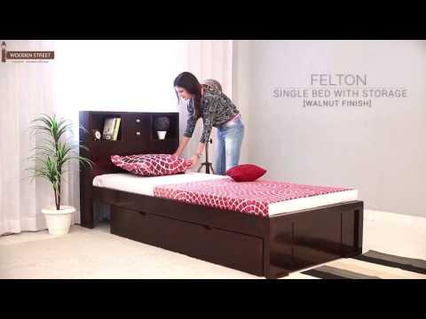 Single Beds : Buy Felton Single Bed With Storage (Walnut Finish) Online - Wooden Street