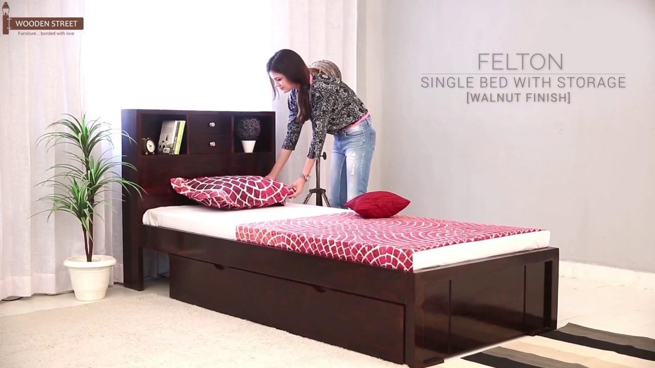 Single Beds : Buy Felton Single Bed With Storage (Walnut