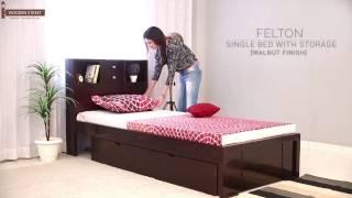 Single Beds : Buy Felton Single Bed With Storage  Walnut Finish  Online - Wooden Street