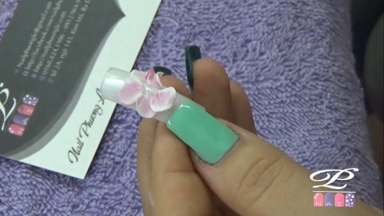 Kỹ thuật đắp cánh hoa bột mềm và mỏng, đắp hoa bột nail đẹp
