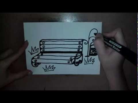 Как нарисовать скамейку карандашом поэтапно в парке