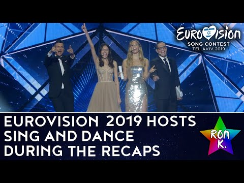 Eurovision 2019 hosts sing along and dance to the songs during the recaps