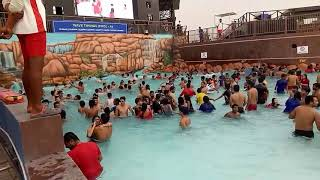 Boy and girl open bath water park
