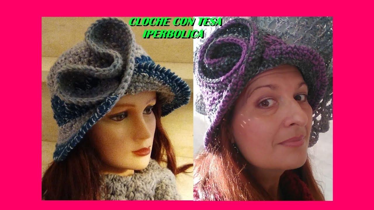 Cappello Cloche Uncinetto Con Tesa Iperbolica Tutorial Ogni Taglia