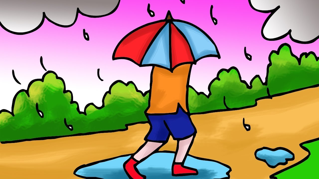 How To Draw A Rainy Day Scenery Drawing In Pencil Color Drawing Laura Blog Rainy Day Drawing Scenery Drawing For Kids Colorful Drawings