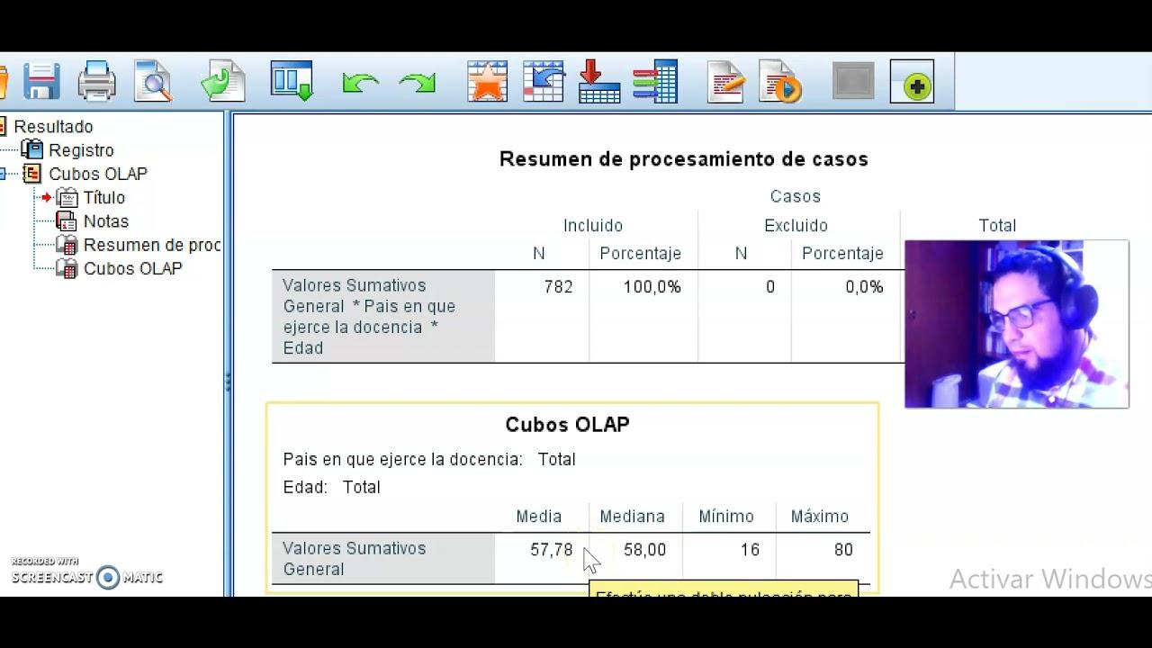 Cubos OLAP SPSS Tutorial:herramienta para filtrar  variables en escalas y encuestas