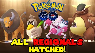 HATCHING ALL 7KM REGIONALS IN POKEMON GO - KANGASKHAN, TAUROS, MR. MIME, FARFECTHED