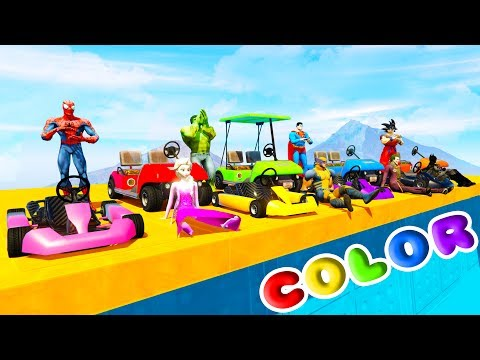 Thumbnail: FUN LEARN COLORS GOLF KARTS w/ SUPERHEROES for Kids and Babies Nursery Rhymes