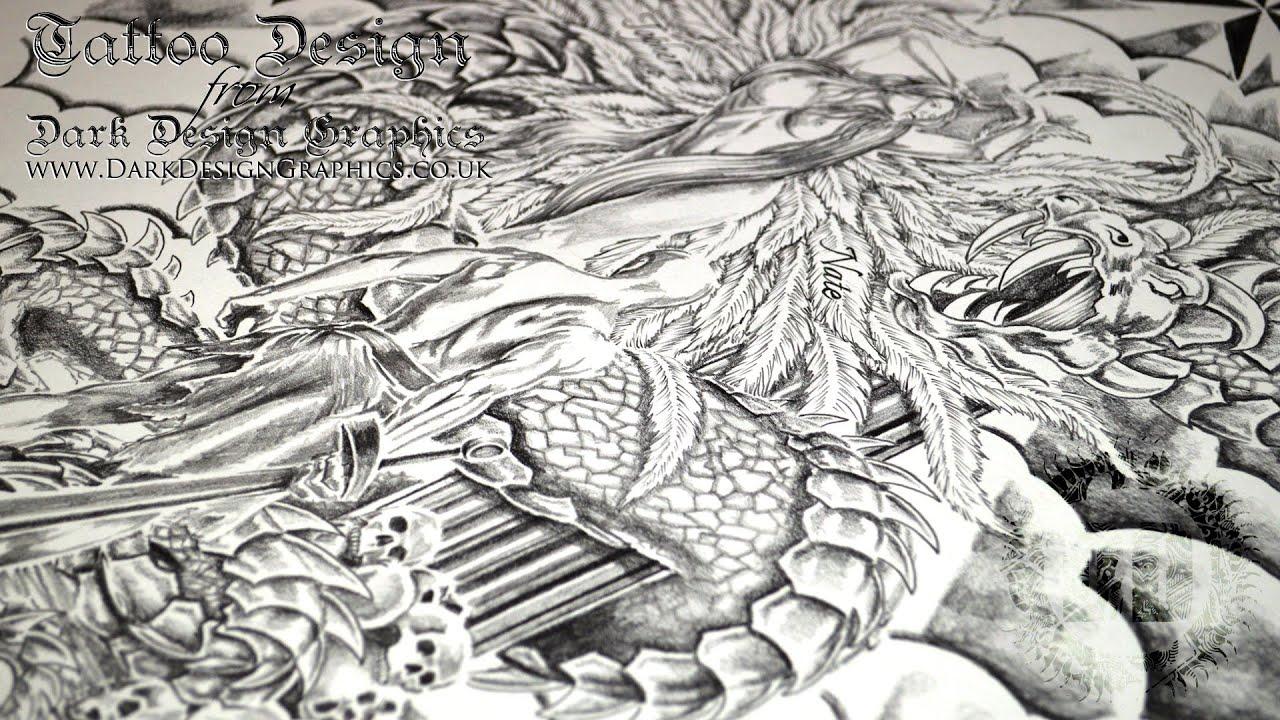 Line Art Dragon : Dragon angel warrior tattoo custom design youtube