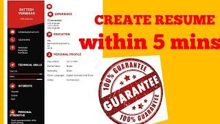 Free Resume Builder CV maker templates formats app   Resume within 5 mins 100% GUARANTEED screenshot 4